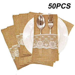 AmaJOY 50pcs 4x8 inch Natural Hessian Burlap Utensil Holders Silverware Napkin Holders Cutlery Pouch Knifes Forks Bag for Country Wedding Decor Bridal Shower Party Table Setting Decorations