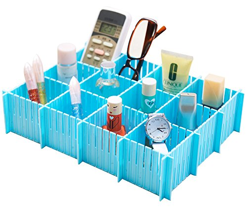 SUNEE 6PCS DIY Plastic Storage Cabinet Drawer Divider Partition Middle Size (Blue)