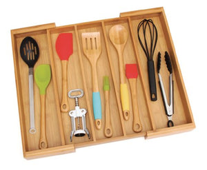 "Lipper International 8892 Bamboo Wood Expandable to 22-1/4"" Utensil Organizer"