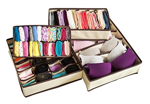 Adorn Home Essentials| Foldable Fabric Closet Storage Organizer,Drawer Organizer and Drawer Divider| Ideal for Underwear, Socks, Bras and Home Essentials| Set of 4 Organizer Drawers