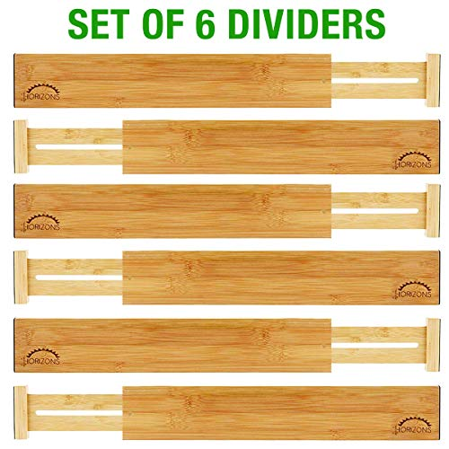 Bamboo Drawer Dividers (Set of 6) - Kitchen Drawer Organizers - Spring Adjustable, Expandable & Stackable Deep Drawers Organizer - Best for Kitchen Utensils, Silverware, Desk, Clothes Dresser Divider