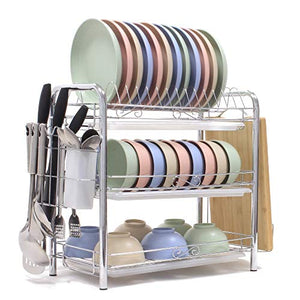 Dish Drying Rack 3-Tier Chrome Plating Dish Rack Stainless Steel Kitchen Dish Drainer Rack Organizer Tool-Free Installation With Utensil Holder/Drain Board/Cutting Board Bracket 3 Layers Cutlery Rack