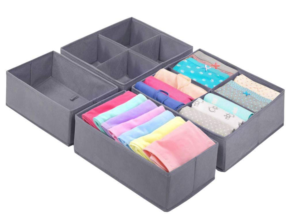 Homyfort Foldable Cloth Storage Bins Closet Dresser Drawer Organizer Cube Basket Boxes Containers Divider with Drawers for Underwear, Bras, Socks, Ties, Scarves,Set of 6 Pack Purple
