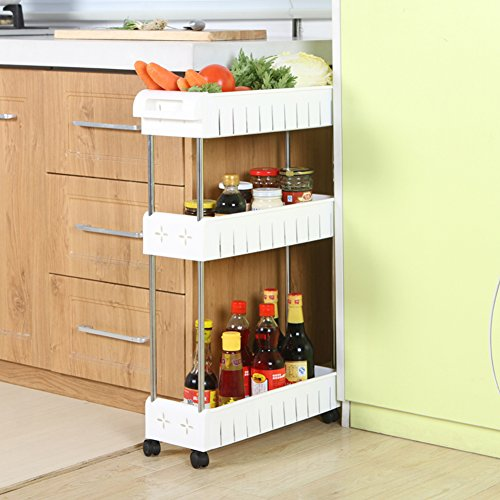 AOMACO 3-Tier Gap Kitchen Slim Slide Out Storage Tower Rack--Mobile Shelving Unit Organizer with Universal Wheels and Hook-Slim Slide Out Pantry Storage Rack for Narrow Spaces Laundry, Bathroom&Kitch