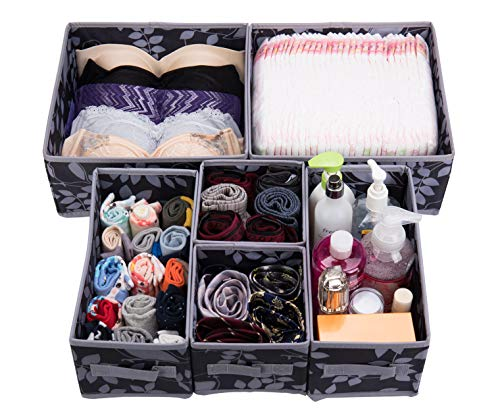 Antoforest Foldable Clothes Drawer Organizer Cloth Storage Box Cube Basket Bins Containers Divider with Drawers for Socks, Ties, Underwear, Bras, Scarves, Diapers, Cosmetics, Set of 6, Black and Gray