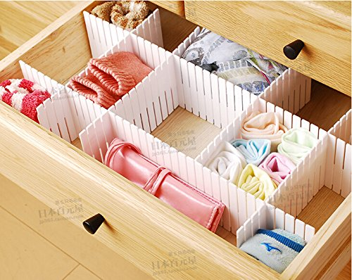 "Duroetui Adjustable Plastic Drawer Closet Grid Divider Tidy Organizer Container Home Storage (45cm X 7cm ( 18"" X 2-3/4"" ), White)"
