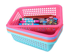 Honla Rectangular Small Plastic Storage Baskets Organizer,Set of 8 in 4 Assorted Colors,Pink,Teal,Blue,Orange