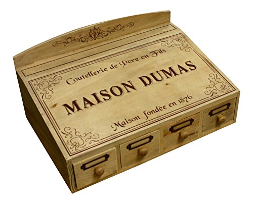 "Decorative Vintage Wood Silverware Organizer, French Vintage Design ""Maison Dumas"""