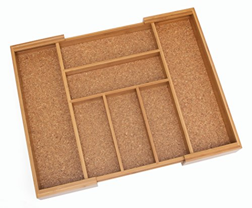 "Lipper International 8874 Bamboo Wood Expandable to 22-1/2"" Flatware Organizer with Cork Lining"