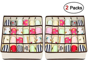 Joyoldelf Sock Drawer Organizer Divider 2 Packs Underwear Organizer, 24 Cell Collapsible Closet Cabinet Organizer Underwear Storage Boxes for Storing Socks, Bra, Handkerchiefs, Ties, Belts (White)
