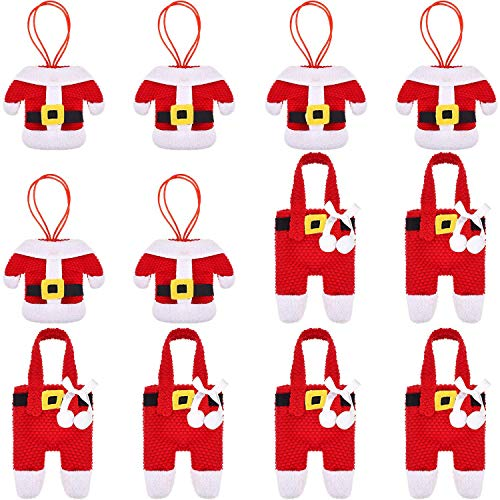 Dofilachy 12 pcs Santa Suit Christmas Dinner Flatware Silverware Cutlery Holders Knife and Fork Bags Table Decoration