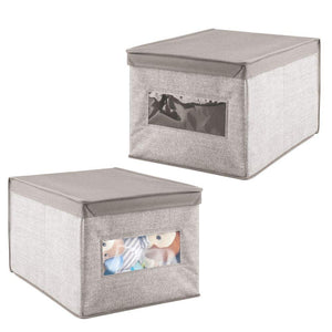 mDesign Decorative Soft Stackable Fabric Closet Storage Organizer Holder Box - Clear Window, Lid, for Child/Kids Room, Nursery - Large, Collapsible Foldable - Textured Print, 2 Pack - Linen/Tan