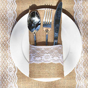 Awtlife 60 Packs Xmas Burlap Lace Utensil Holders Silverware Cutlery Pouch Knifes Forks Bag for Vintage Wedding