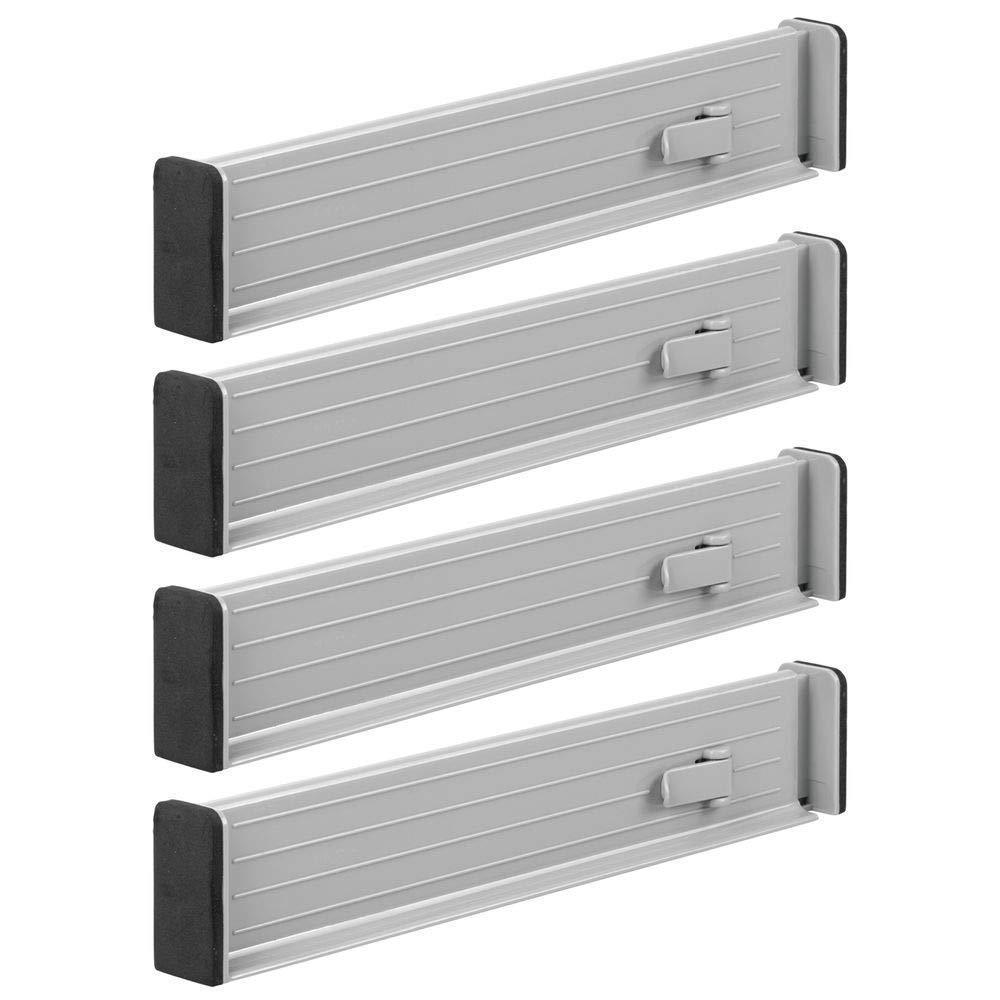 "mDesign Adjustable, Expandable Drawer Organizer/Divider - Foam Ends, Strong Secure Hold, Locks in Place - for Bedroom, Bathroom, Closet, Office, Kitchen Storage - 2.5"" High, 4 Pack - Gray"
