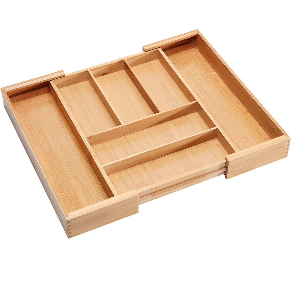 Bamboo Cutlery Utensil Tray Expandable Drawer Organizer Divider Flatware Silverware Holder Stationery Storage Mortise and Tenon Connection
