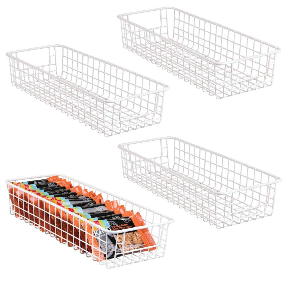 "mDesign Household Wire Drawer Organizer Tray, Storage Organizer Bin Basket, Built-In Handles - for Kitchen Cabinets, Drawers, Pantry, Closet, Bedroom, Bathroom - 16"" x 6"" x 3"" - 4 Pack - Matte White"