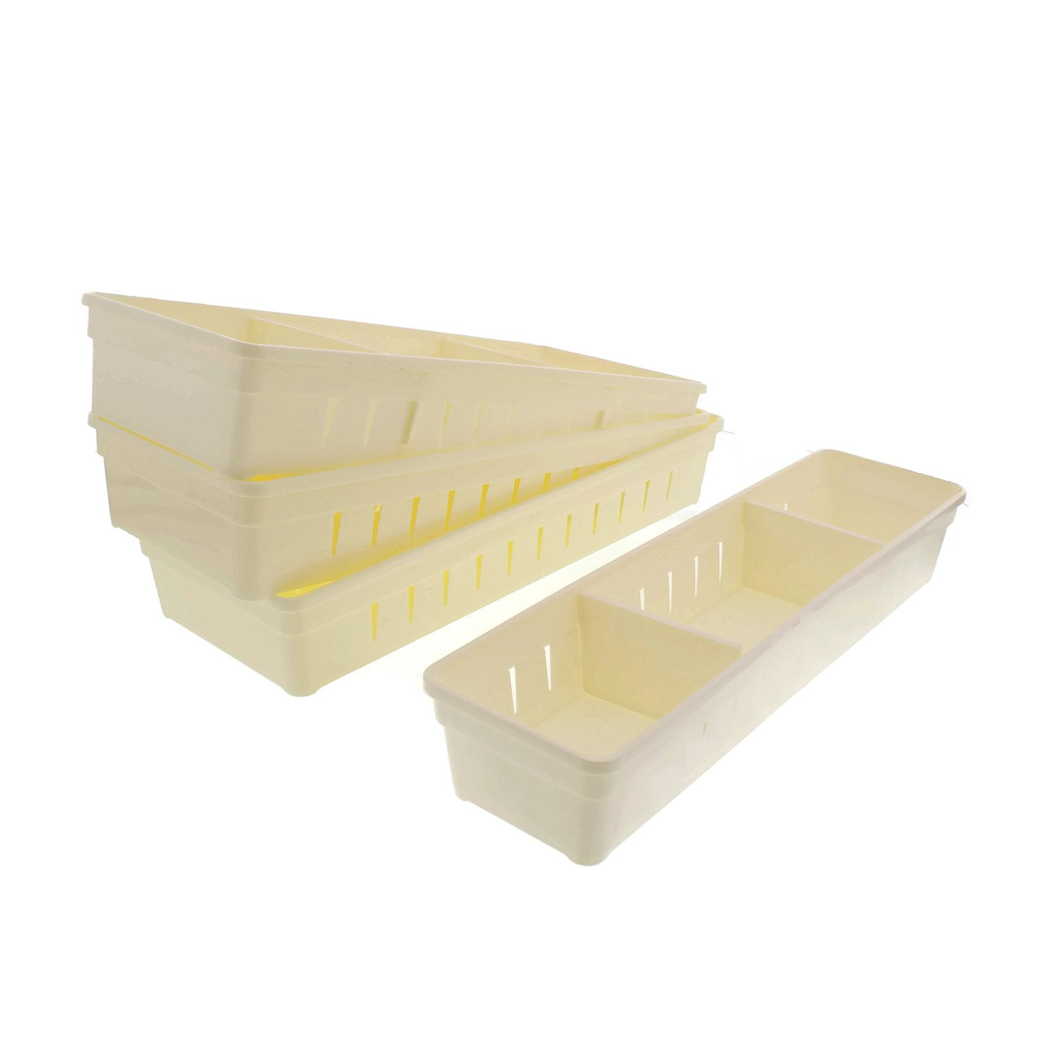Cheftor Plastic Storage Drawers Drawer Organizers with Dividers for Stationery, Makeup, Silverware, set of 4 (White)