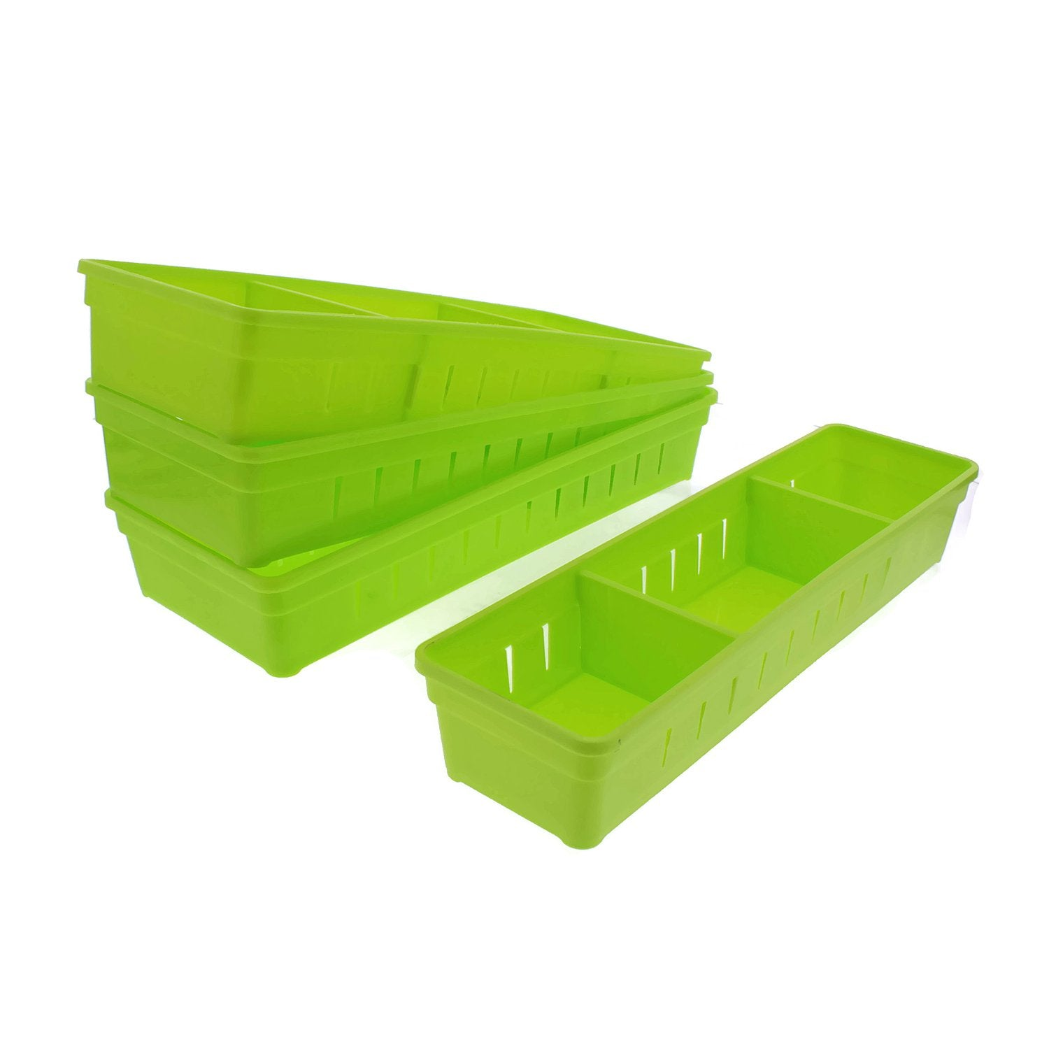 Cheftor Plastic Storage Drawers Drawer Organizers with Dividers for Stationery, Makeup, Silverware, set of 4 (Green)