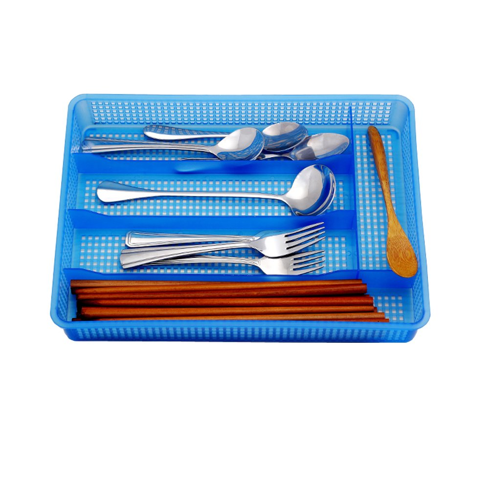 AIYoo Flatware Organizers, Flatware Plastic Tray,Kitchen Cutlery and Utensil Drawer Organizer Storage Container, Blue Cutlery Tray Dinnerware Holder Drawer Dividers