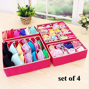 King&Pig 4PCS Foldable Storage Boxes for Ties Socks Shorts Bra Underwear Divider Drawer Lidded Closet Home Organizer Container (Rose red)