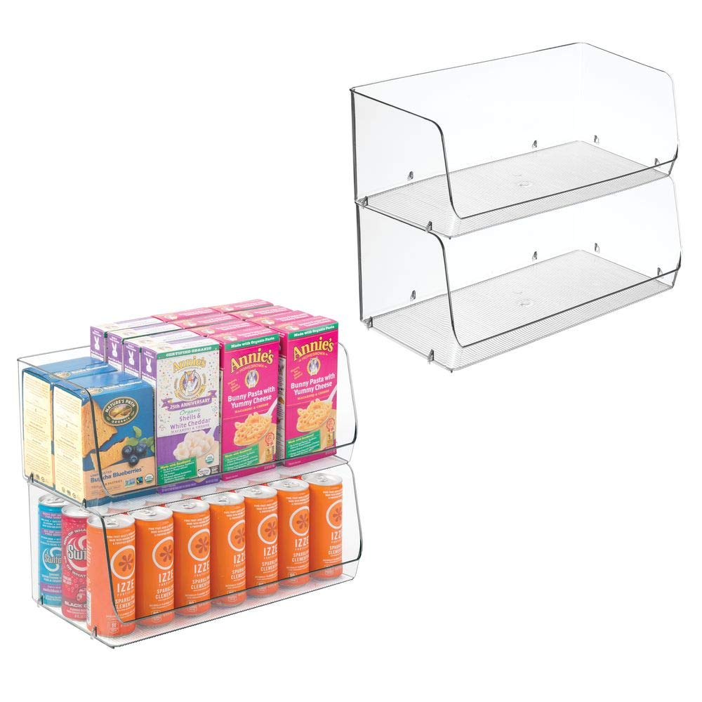 "mDesign Extra Large Household Stackable Plastic Food Storage Organizer Bin Basket with Wide Open Front for Kitchen Cabinets, Pantry, Offices, Closets, Bedrooms, Bathrooms - 15"" Wide, 4 Pack - Clear"