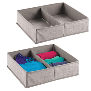 mDesign Fabric Dresser Drawer and Closet Storage Organizer for Underwear, Socks, Bras, Tights, Leggings - Pack of 2, 2 Compartments Each, Linen