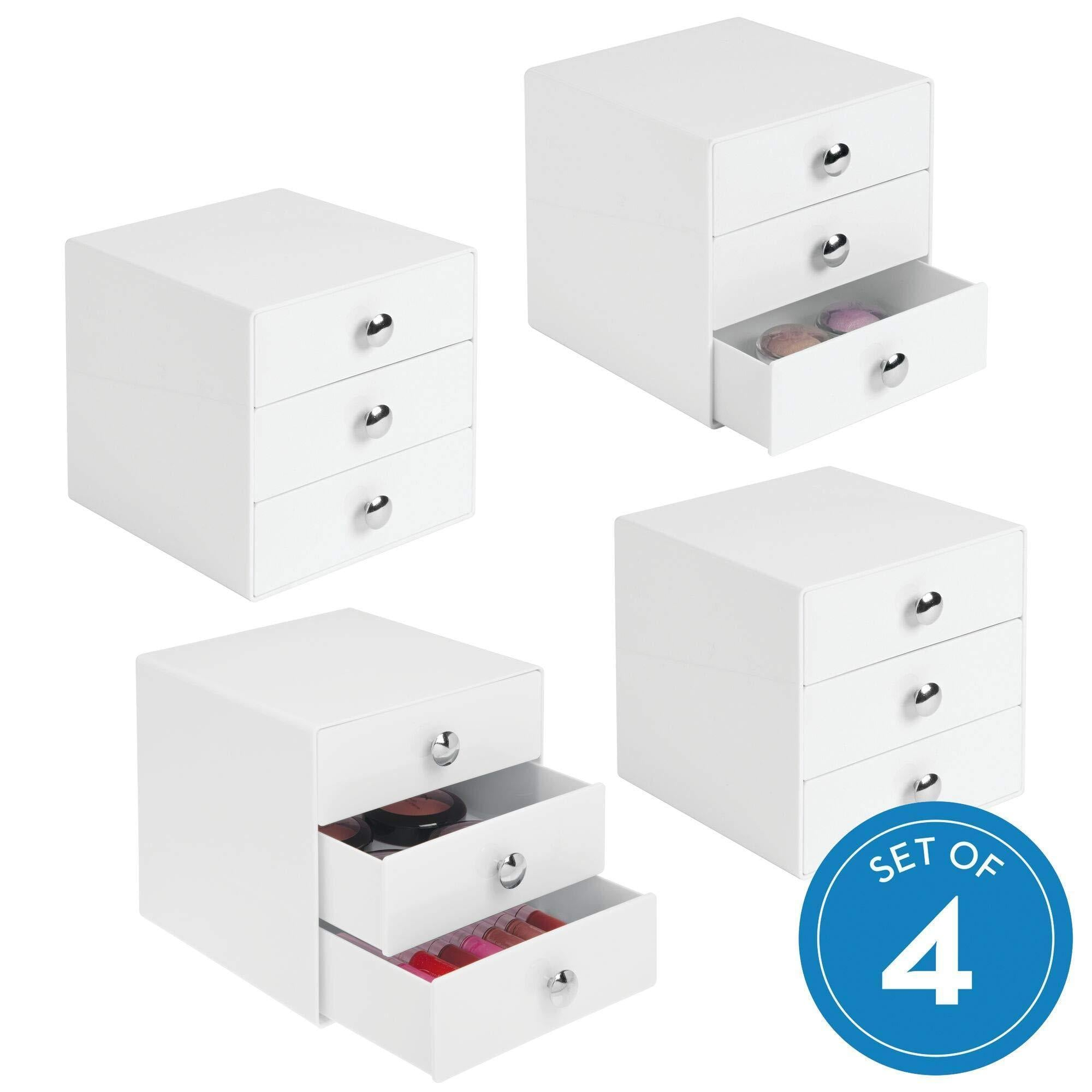 "iDesign Plastic 3 Jewelry Box, Compact Storage Organization Drawers Set for Cosmetics, Makeup, Hair Care, Bathroom, Office, Dorm, Desk, Countertop, 6.5"" x 6.5"" x 6.5"", Set of 4, White"