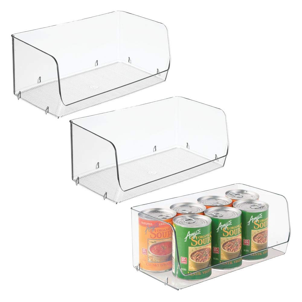 "mDesign Household Stackable Plastic Storage Organizer Bin Basket with Open Front for Kitchen Cabinets, Pantry, Offices, Closets, Bedrooms, Bathrooms - 12"" Wide, Pack of 3, Clear"