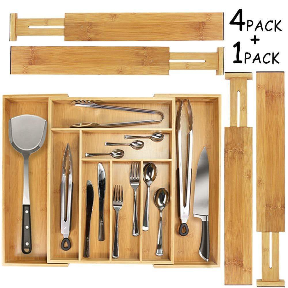 Mebbay 5 Set Bamboo Drawer Dividers, Kitchen Drawer Organizer, Adjustable Drawer Divider Organizer, Bamboo Wood Utensil Drawer Organizer for Kitchen, Dresser, Bedroom, Bathroom, with Non-Slip Pads