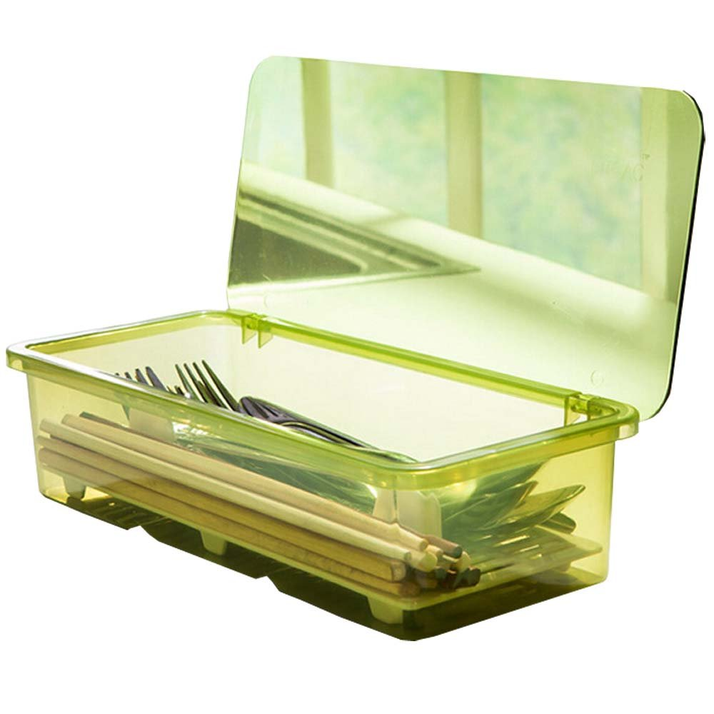 AIYoo Flatware Tray Kitchen Drawer Organizer With Lid And Drainer - Plastic Kitchen Cutlery Tray and Utensil Storage Container with Cover - Dust-proof Dinnerware Holder Green