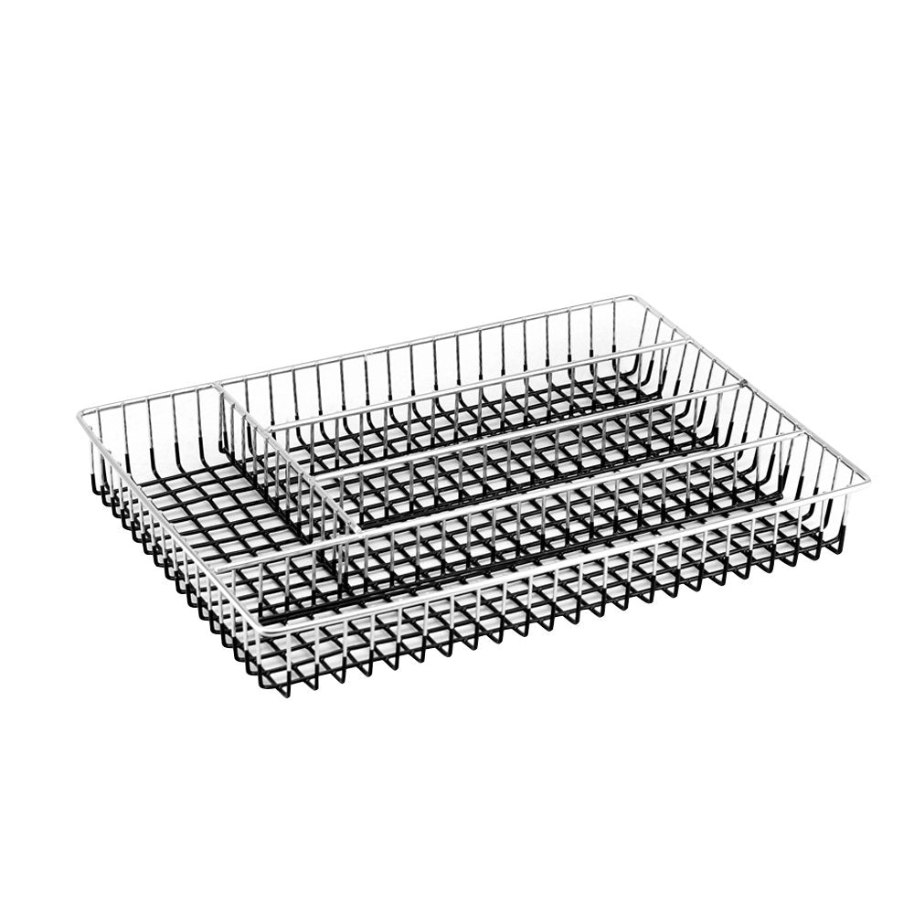Deluxe Chrome-plated Steel Mesh 5-Part In-Drawer Utensil Organizer (Black)