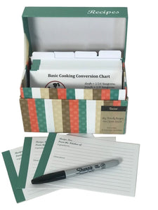 91 Piece Recipe Box and Card Bundle Set - Striped. The Perfect Recipe Card Holder!