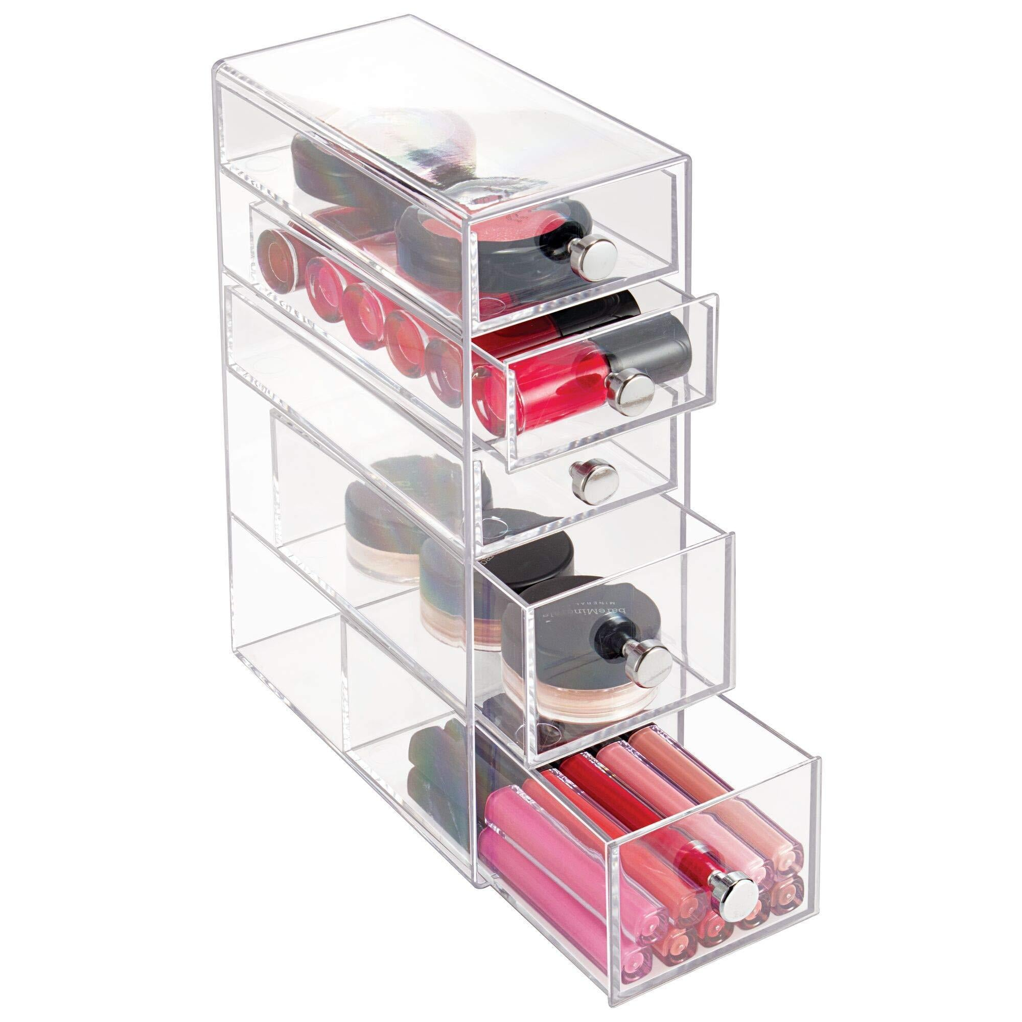 "iDesign Clarity Plastic Cosmetic 5-Drawer, Jewelry Countertop Organization for Vanity, Bathroom, Bedroom, Desk, Office, 3.5"" x 7"" x 10"", Clear"