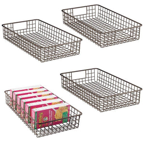 "mDesign Household Metal Wire Cabinet Organizer Storage Organizer Bins Baskets trays - for Kitchen Pantry Pantry Fridge, Closets, Garage Laundry Bathroom - 16"" x 9"" x 3"" - 4 Pack - Bronze"