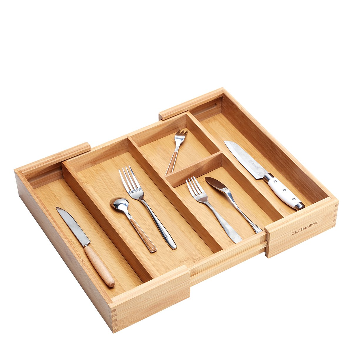 Bamboo Expandable Silverware Drawer Organizer - Kitchen Cutlery Utensil Flatware Tray Mortise and Tenon Connection