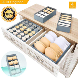 Underwear Organizer Dresser Drawer Organizer - Foldable Closet Drawer Dividers Washable Sock Organizer Storage Bra Box Fabric Bin for Baby Clothes,Panties,Lingeries,Ties,Belts