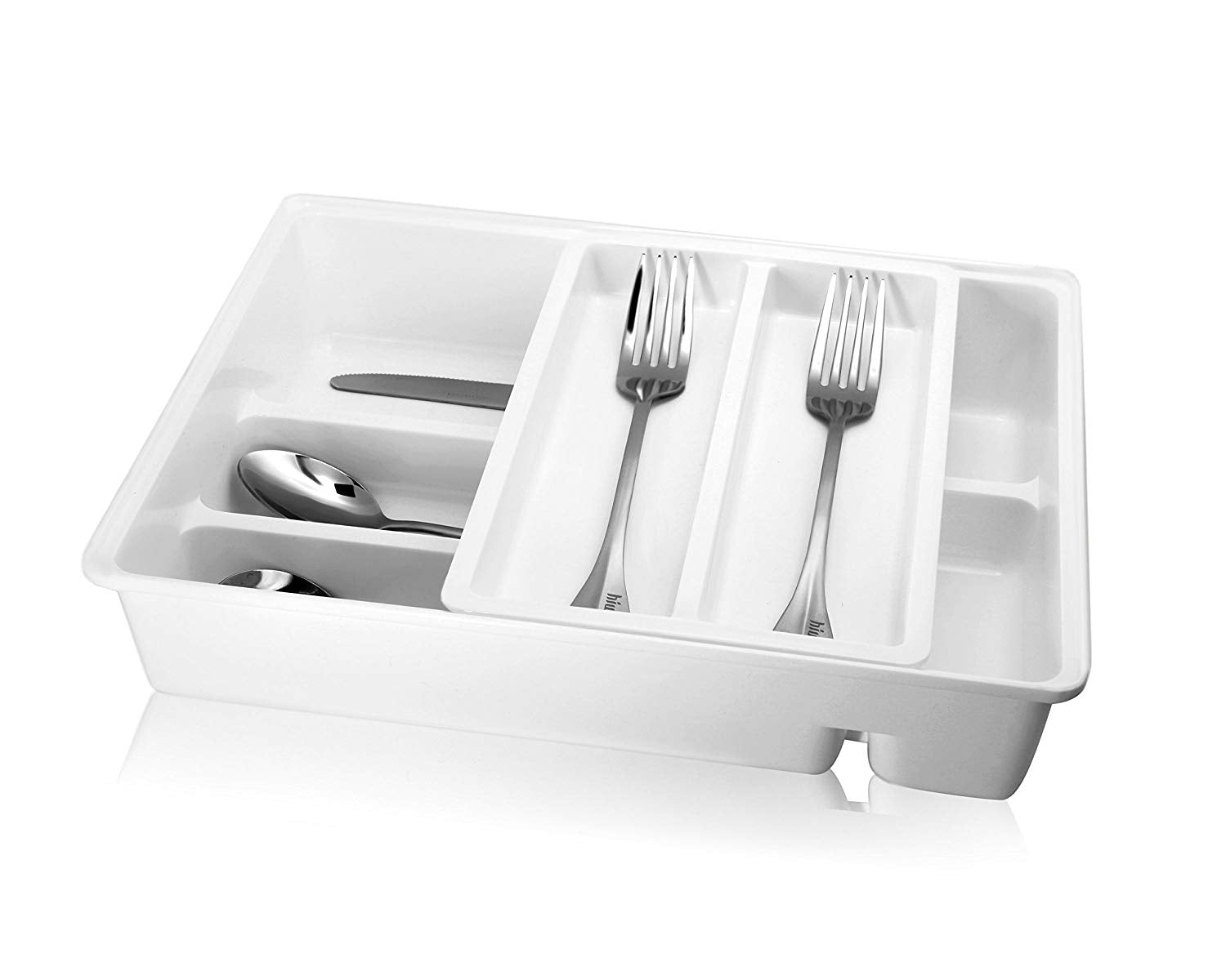 Hiware Double Tiered Cutlery Tray Drawer Insert, Plastic Utensil Organizer, Universal Drawer Organizer