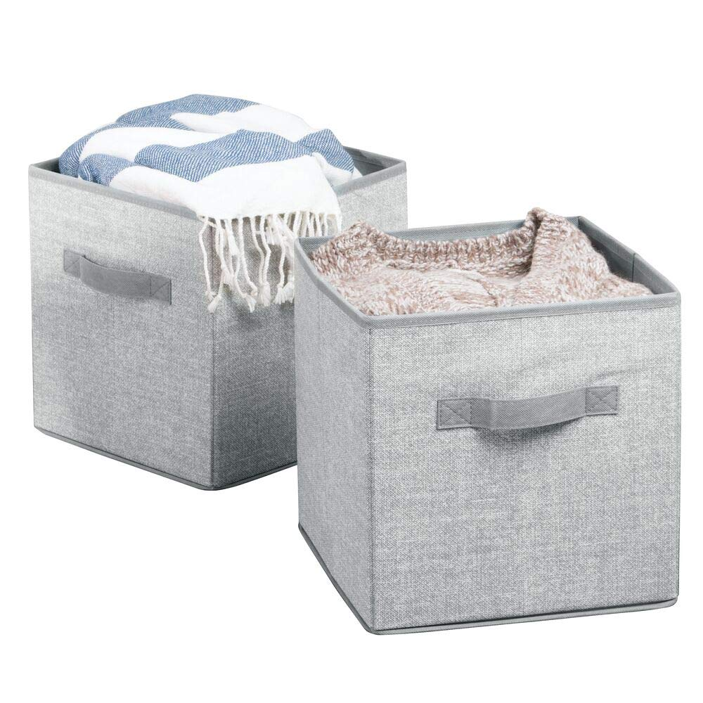 mDesign Fabric Closet Storage Organizer Cube for Toys, Sweaters, Accessories - Pack of 2, Gray