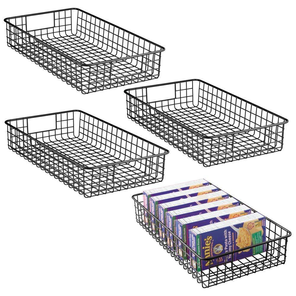 "mDesign Household Metal Wire Cabinet Organizer Storage Organizer Bins Baskets trays - for Kitchen Pantry Pantry Fridge, Closets, Garage Laundry Bathroom - 16"" x 9"" x 3"" - 4 Pack - Matte Black"