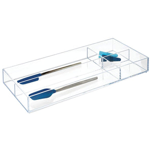 "iDesign Clarity Kitchen Drawer Organizer for Silverware, Spatulas, Gadgets - X-Large, 8"" x 16"" x 2"", Clear"