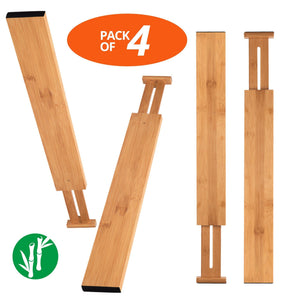 Luckyshe Bamboo Drawer Dividers, Adjustable & Spring Kitchen Drawer Dividers, Expandable & Eco-Friendly Drawer Organizers and Dividers for Kitchen, Dresser, Bathroom, Desk, Bedroom - Pack of 4