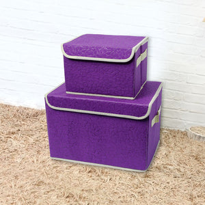 Drhob Foldable Storage Boxes with Lid and Handles Clothes Closet Fabric Folding Basket Organizer Bin Containers Cubes, Set of 2, Small and large - Purple