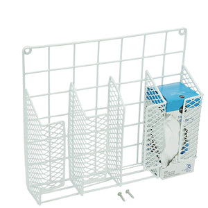 DecorRack Cabinet Door Mount Kitchen Storage Organizer Basket, Wrap Organizer Rack, Space Saving Drawer Grid Holder for Cleaning Supplies, Bottles, Steel with White Plastic Coating