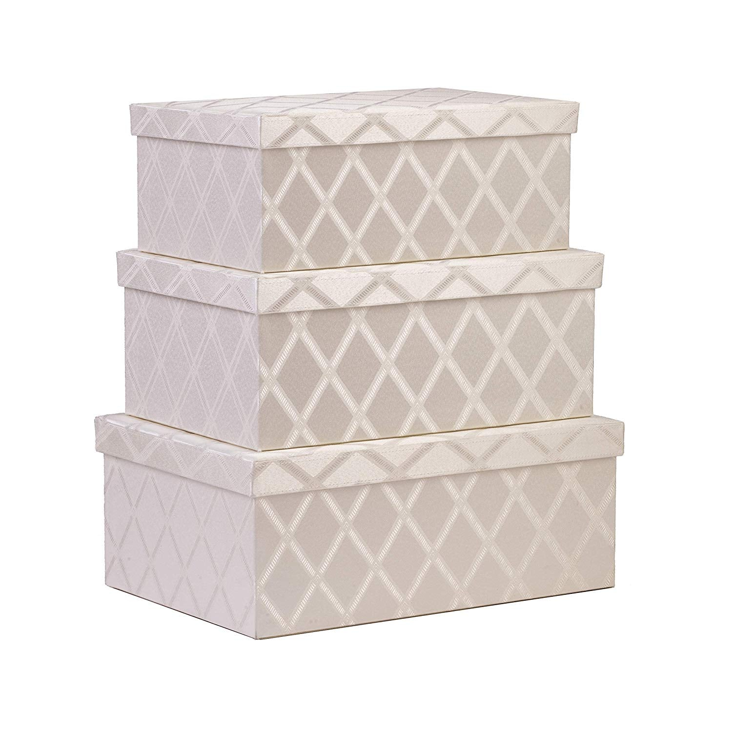 Toys Storage Bins 3-pcs Set - Fabric Decorative Storage Boxes with Lids - Shelf Closet Organizer Basket - Decor Nesting Boxes - Stylish Gift Boxes with Lids, Large/Medium/Small Sizes (Off White)