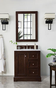 "De Soto 30"", James Martin Burnished Mahogany Bathroom Vanity"