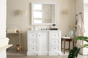 "De Soto 48"", James Martin Bright White Bathroom Vanity"