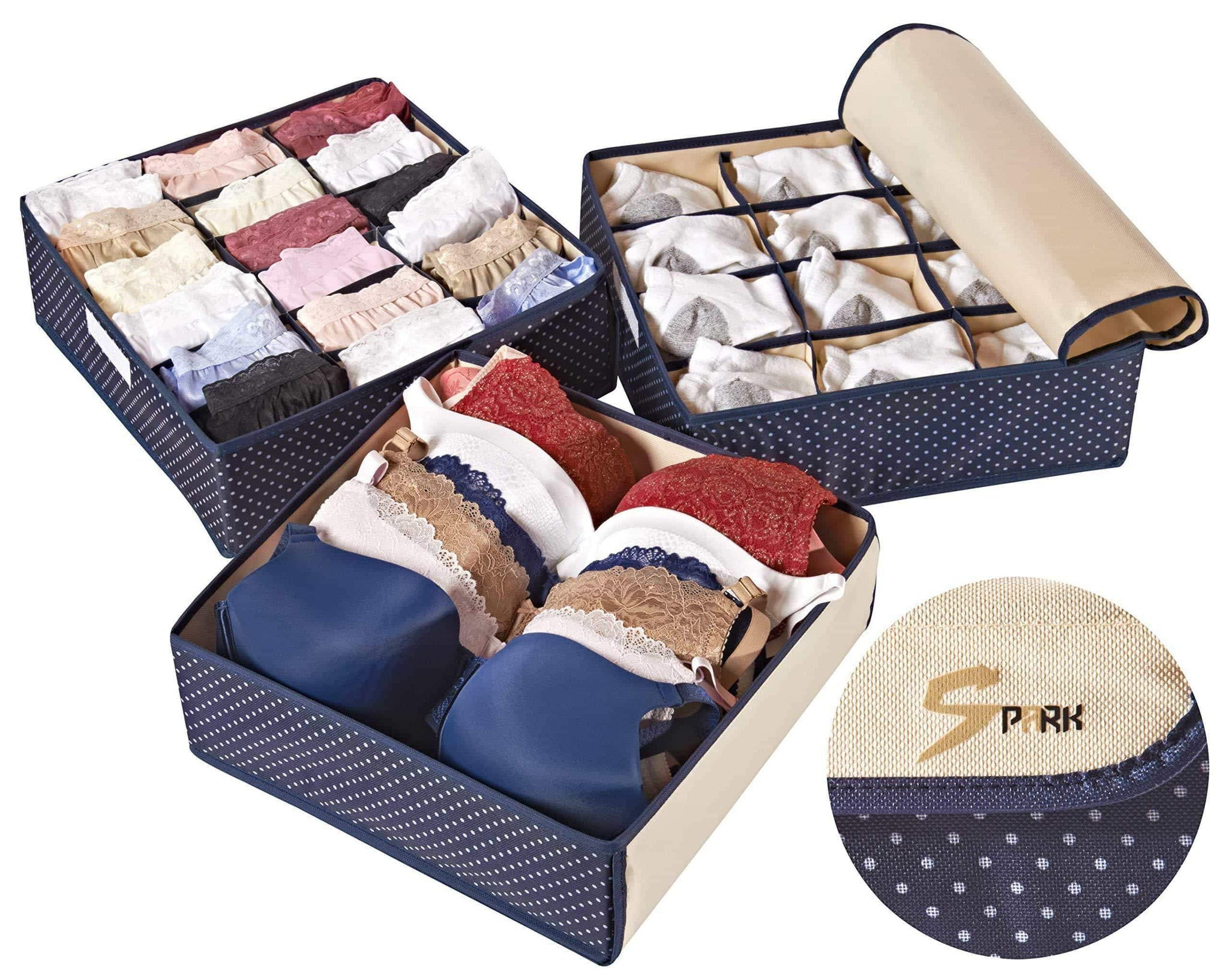 Topline Goods - Spark Premium Set of 3, Foldable, Covered Drawer Organizer, Closet Organizer for Socks, Bras for Women, Underwear, Baby Clothes, Belts, Scarves (Blue)