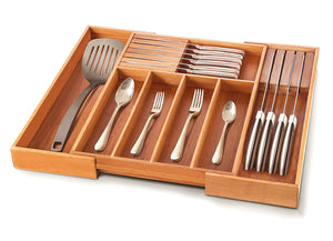 Bamboo Utensil Drawer Organizer - Expandable Cutlery Tray Silverware Holder with 2 Removable Knife Blocks