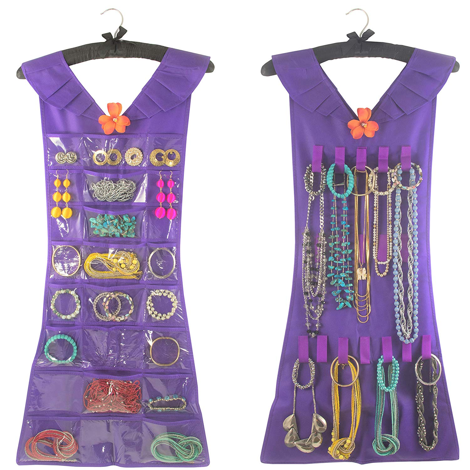 Marcus Mayfield Hanging Jewelry Organizer Closet Storage for Jewelry-Hair Accessories-Makeup-Necklaces-Bracelets-Earrings (Black Satin Hanger, Purple Dress, 24 Pockets 17 Hooks)