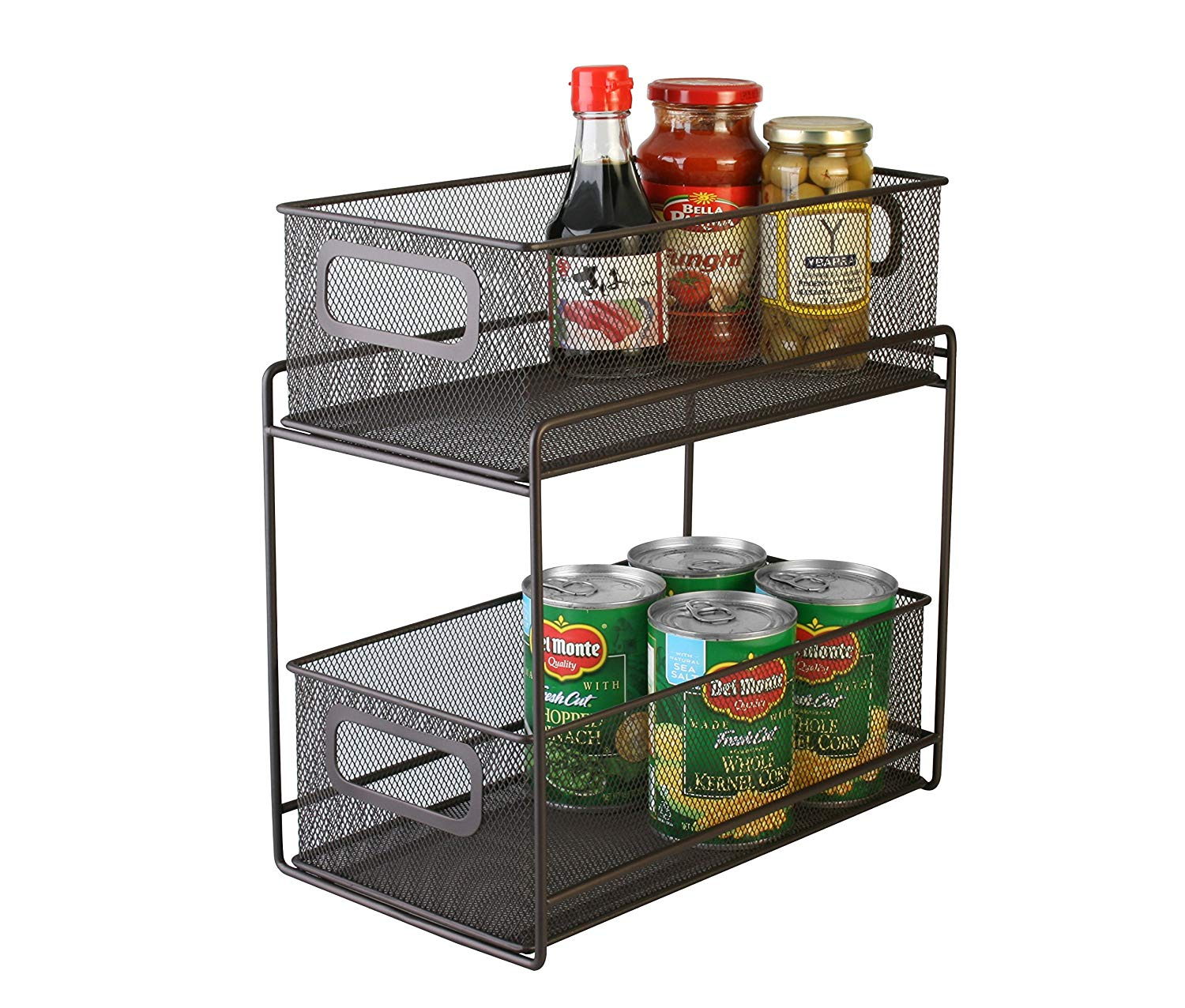 Artestia 2-Tier Mesh Steel Double Sliding Cabinet Basket Organizer/Drawer (Bronze)